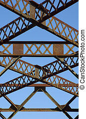 acél, bridzs, megrekedt, szerkezet