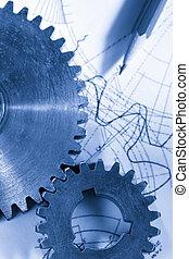 acél, cogwheels, alatt, összeköttetés, képben látható, rajz