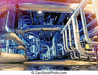 acél, ipari, csővezetékek, visszaverődés, sáv, felszerelés