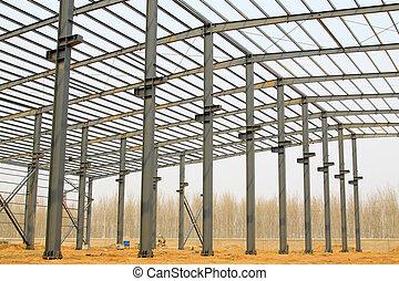 acél, ipari, gerenda, tető, termelés, műhely
