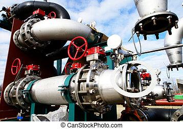 acél, kék, ipari, csővezetékek, ég, ellen, sáv, rádiócső