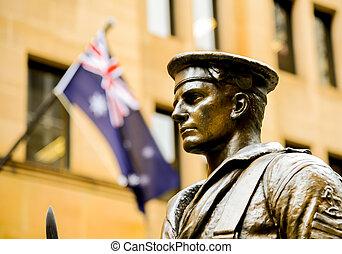 acél, katona, lobogó, ausztrália, szobor
