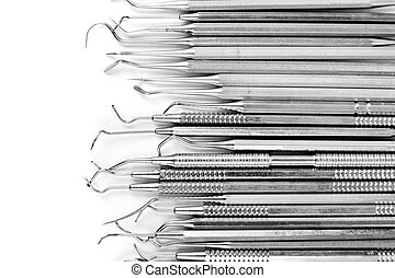 acél, orvosi felszerelés, -, eszközök, helyett, fog, fogászati törődik