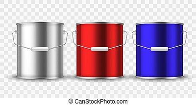 acél tároló, alumínium, csomag, can., fém, mockup, vödör, ezüst, festék, vektor, konzervál, gyakorlatias, belső, fogantyú, helyreállítás