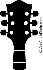 acústico, cabeza, guitarra