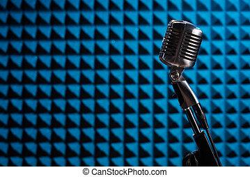 acústico, espuma, azul, micrófono, silueta, retro, panel