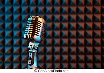 acústico, espuma, micrófono, plano de fondo, retro, panel
