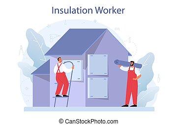 acústico, isolação, construção, concept., térmico, ou, insulation., indústria