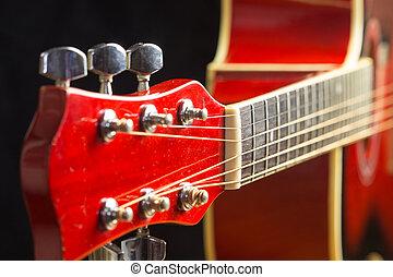 acústico, vermelho, guitarra, descansar, em, a, fundo, com, um, cópia, de, a, mão, espaço, tocando, guitarra acústica, close-up, ligado, a, desktop