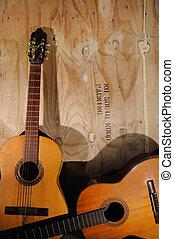 acústico, viejo, guitarras