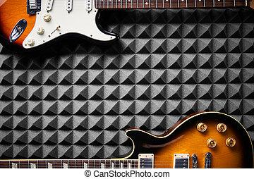 acústico, vista, eléctrico, plano de fondo, guitarra, cima, ...