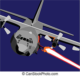 AC-130 - vector of AC-130 airplane fring a round from it;s...