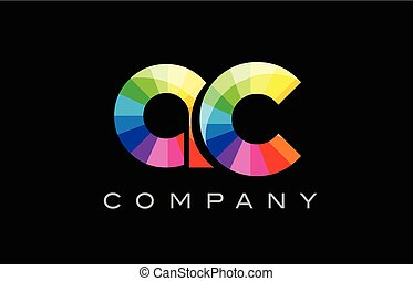 AC A C alphabet letter mosaic vector design