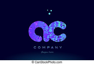 ac a c bubble circle dots pink blue alphabet letter logo icon vector