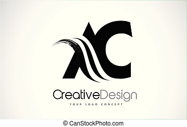 AC A C Creative Brush Black Letters Design With Swoosh - AC...