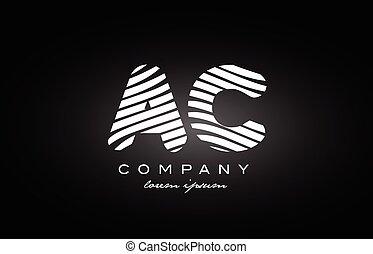 AC A C letter alphabet logo black white icon design