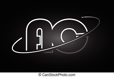 AC A C letter alphabet logo black white icon design