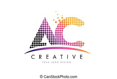 AC A C Dots Letter Logo Design with Magenta Bubble Circles and Swoosh
