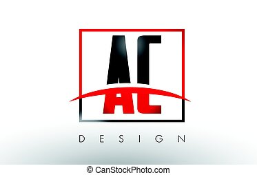 AC A C Logo Letters with Red and Black Colors and Swoosh.