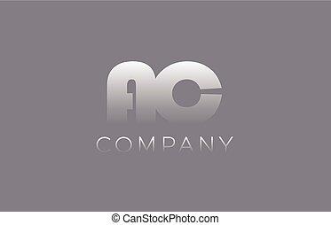 AC A C pastel blue letter combination logo icon design