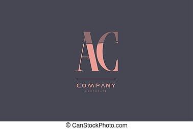 ac a c pink vintage retro letter company logo icon design