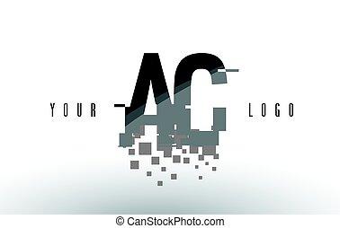 AC A C Pixel Letter Logo with Digital Shattered Black Squares