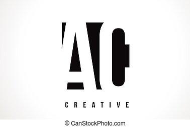AC A C White Letter Logo Design with Black Square.