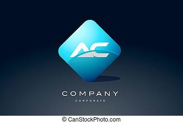 ac alphabet blue hexagon letter logo vector icon design