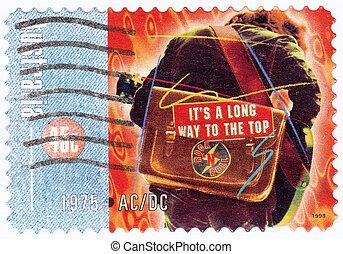 ac, australie, timbre, 1998, -, dc, /, musique, imprimé, bande, rocher, 1998:, environ, spectacles