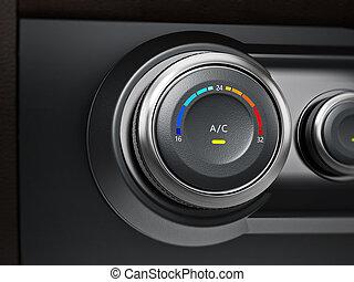 AC button of a modern car. 3D illustration
