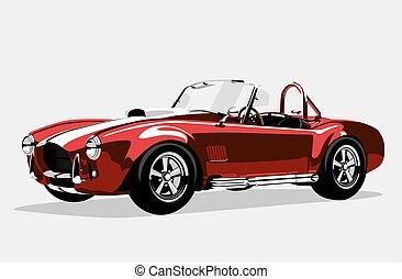 ac, carro clássico, shelby, cobra, vermelho, desporto, roadster