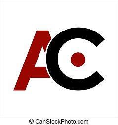ac, companhia, letra, logotipo, ícone, iniciais