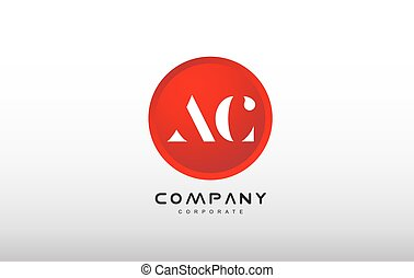AC letter alphabet red circle dot logo vector design