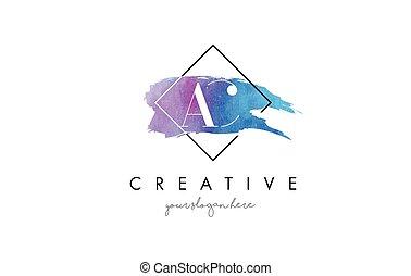 AC Letter Logo Circular Purple Splash Brush Concept.