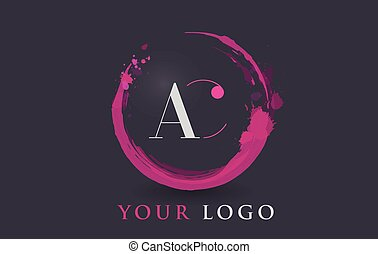AC Letter Logo Circular Purple Splash Brush Concept.