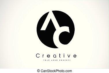 AC Letter Logo Design inside a Black Circle. Creative...