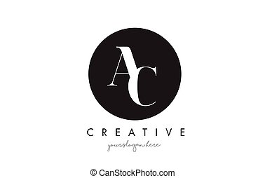 AC Letter Logo Design with Black Circle and Serif Font.