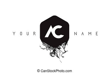 AC Letter Logo Design with Black Ink Spill