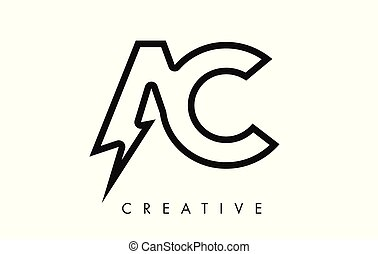 AC Letter Logo Design With Lighting Thunder Bolt. Electric...