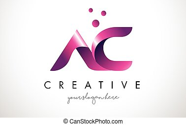 AC Letter Logo Design with Purple Colors and Dots