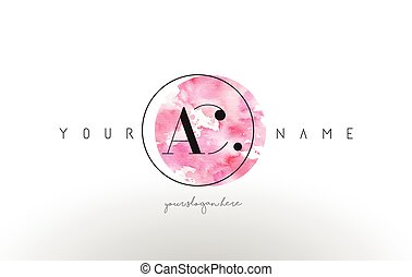 AC Letter Logo Design with Watercolor Circular Brush Stroke.