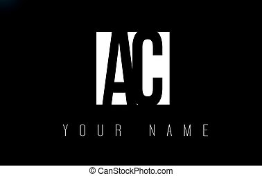 AC Letter Logo With Black and White Negative Space Design.