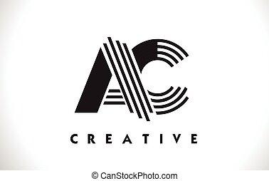 AC Logo Letter With Black Lines Design. Line Letter Vector Illustration