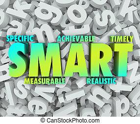 ac, mål, objektiv, mission, specifik, achievable, criteria, ...