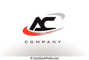 AC Modern Letter Logo Design with Red Dotted Swoosh