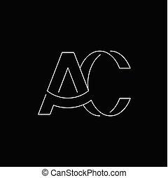 ac, początkowy, wektor, litera, logo, kreska
