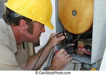 ac, repairman, trabalhando