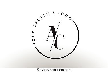 AC Serif Letter Logo Design with Creative Intersected Cut.