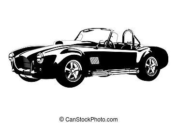 ac, silhuett, shelby, bil, kobra, ?lassic, sport, roadster