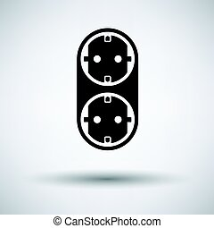AC splitter icon on gray background, round shadow. Vector...